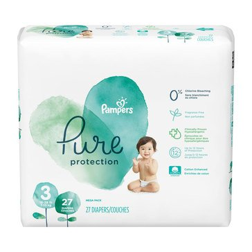 Pampers Pure Protection Mega-Pack 27-Count Diapers, Size 3