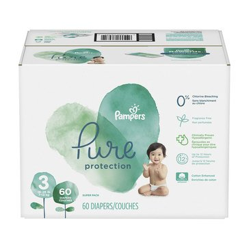 Pampers Pure Super-Pack 60-Count Diapers, Size 3
