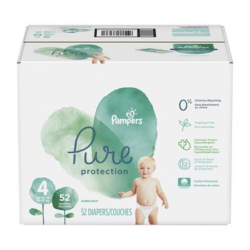 Pampers Pure Protection Super-Pack 52-Count Diapers, Size 4