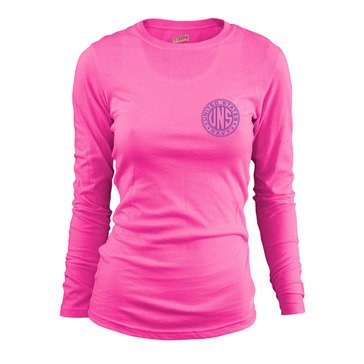 Soffe Women's Long Sleeve Crew Tee 'UNS' USN Crest Design Left Chest