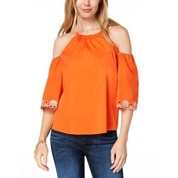 Maison Jules Women's Woven Solid Cold Shoulder Eyelet Blouse In Exotic Orange