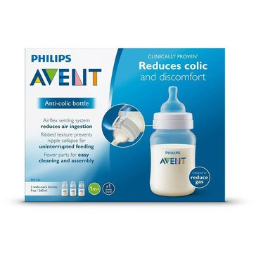 Philips Avent Natural 9oz Baby Bottles, Clear, 2-Pack