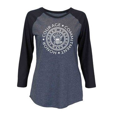 Soffe Unisex Heathered Baseball Tee With  'Honor Courage Commitment' Design