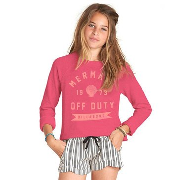 Billabong Big Girls' Whole Hearted French Terry Crew Neck Top