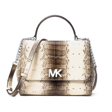 Michael Kors Mott Medium Top Handle Satchel Embossed Snake Natural