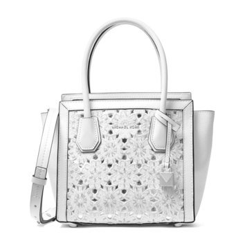 Michael Kors Mercer Studio Medium Messenger Flower Embroidered Optic White