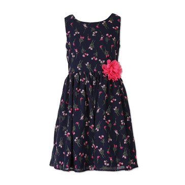 Speechless Big Girls' Floral Embroidered Easter Dress, Navy/ Pink
