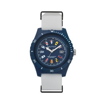 Nautica Men's Surfside White/Blue Flag Dial Nato Silicone Strap Watch, 46 mm
