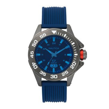Nautica Men's Westview Colored Crystal Grey Blue Silicone Watch, 45mm