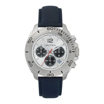 Nautica Men's Andover Blue/Silver Technical Leather Strap Chronograph Watch