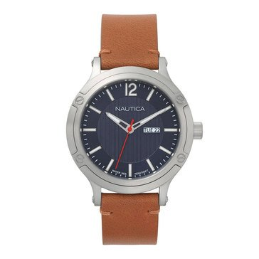 Nautica Men's Porthole Slim Blue Dial Tan Leather Iconic Watch, 44mm