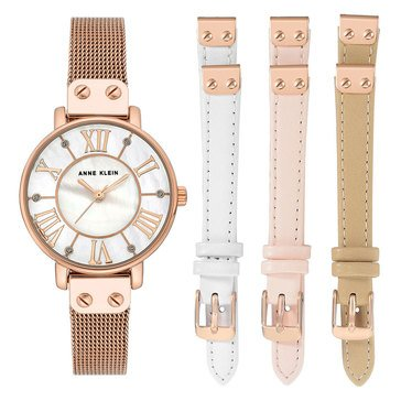 Anne Klein Women's Rose Gold Mesh Bracelet Watch Set, 30mm