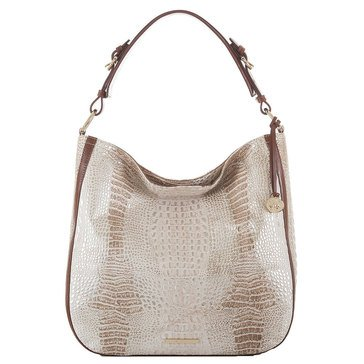 Brahmin Eva Hobo Shoulder Bag Beige Caracara