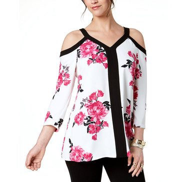Alfani Women's Woven Floral Printed Cold Shoulder Top