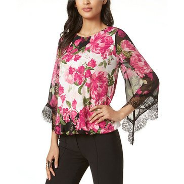Alfani Women's Floral Knit Lace Hem Top With Angel Sleeve in Pink Blooms