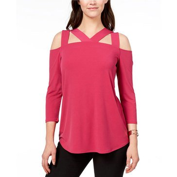 Alfani Women's Knit Solid Top With Cutout Chest in Modern Berry