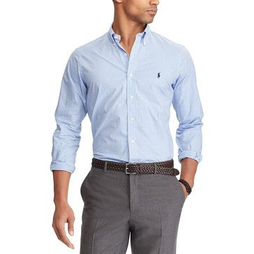 Polo Ralph Lauren Men's Long Sleeve Stretch Poplin Blue White Check