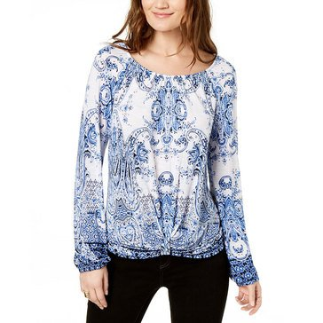I.N.C. International Concepts Women's Front Knot Blouson Sleeve Top In White/Blue