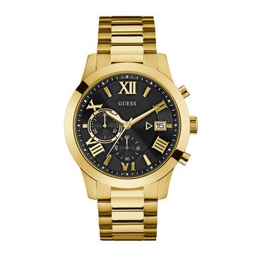 Guess Men's Chronograph Gold Tone Case/Silicone Strap Watch, 44mm