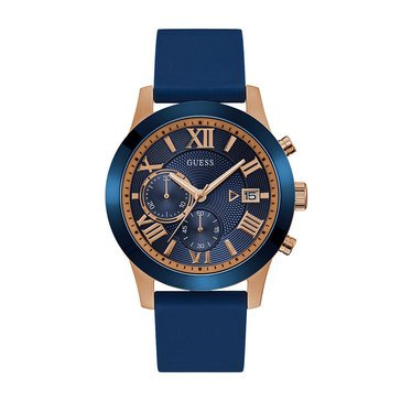 Guess Men's Chronograph Rose Gold Case/Blue Silicone Strap Watch, 44mm