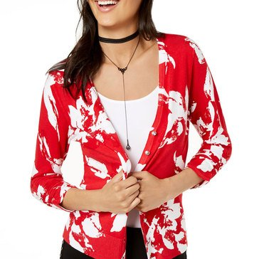 I.N.C. International Concepts Women's Floral Print Short Cardigan Sweater In Real Red