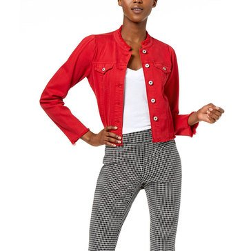 I.N.C. International Concepts Women's Linen Cropped Jacket With Fray Edge In Real Red