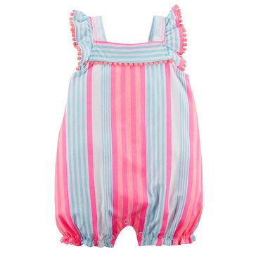 Carter's Baby Girls' 1-Piece Mint Pink Orange Stripe Romper