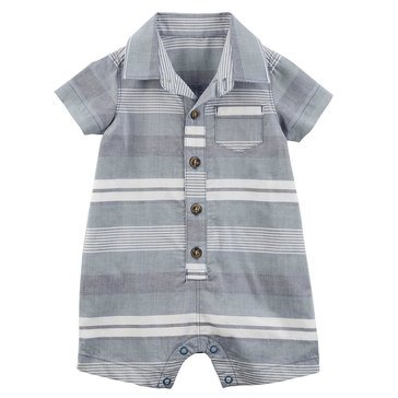 Carter's Baby Boys' 1-Piece Woven Navy White Stripe Jumpsuit