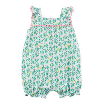 Carter's Baby Girls' 1-Piece Green Tropical Print Lace Romper