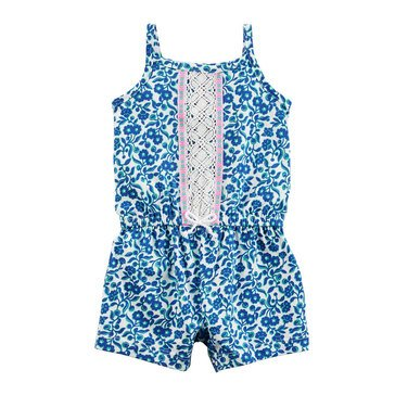 Carter's Baby Girls' 1-Piece Navy Green Print Romper