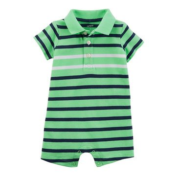 Carter's Baby Boys' 1-Piece Blue Green Stripe Chambray Pocket Jumpsuit