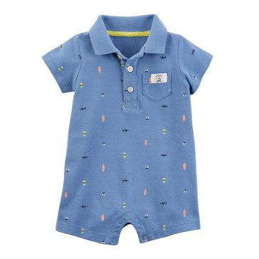 Carter's Baby Boys' 1-Piece Blue Schiffli Print Jumpsuit