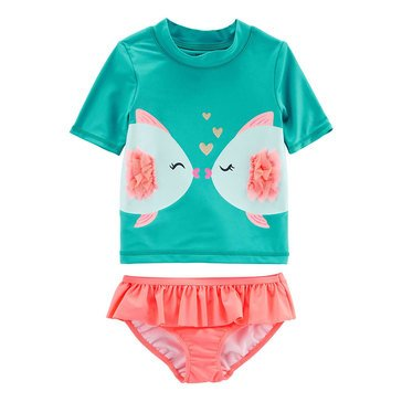 Carter's Baby Girls' 2-Piece Kissy Fish Rashguard Set