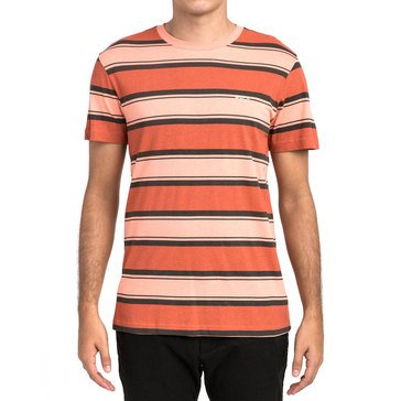 RVCA Men's 4 Striped Short Sleeve Tee in Salmon