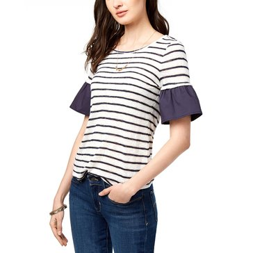 Maison Jules Women's Short Sleeve Stripe Knit Woven Ruffle Edge Shirt