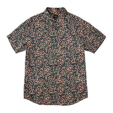 Rvca Men's Barrow Short Sleeve All Over Printed Woven Button Down Shirt in Salmon
