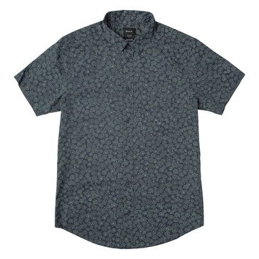 Rvca Men's Cleta All Over Printed Woven Button Down Shirt in Indigo