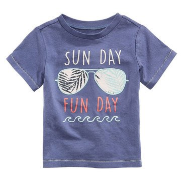 First Impression Baby Boys' Sunday Funday Tee, Washed Indigo
