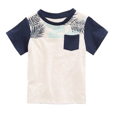 First Impression Baby Boys' Tropical Pocket Tee, Heather Dune