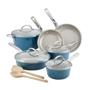Ayesha Curry Home Collection 12-Piece Nonstick Cookware Set, Twilight Teal