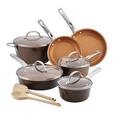 Ayesha Curry Home Collection 12-Piece Nonstick Cookware Set, Brown Sugar