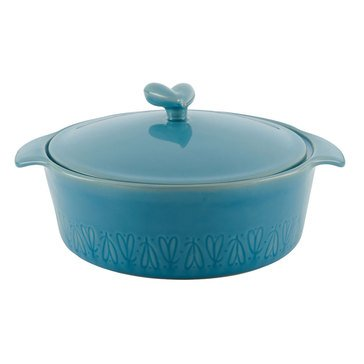 Ayesha Curry Home Collection 2.5-Quart Stoneware Round Casserole Dish, Blue