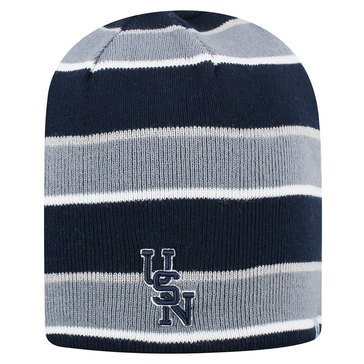 Top Of The World Striped Knit Beanie With USN Design