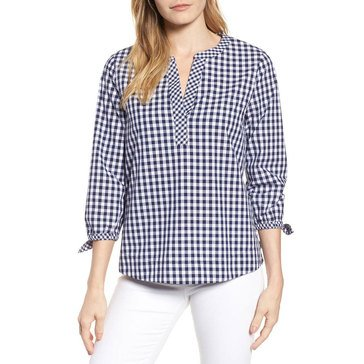 Vineyard Vines Women's Woven Mixed Gingham Checked Shirt With Tie Sleeve