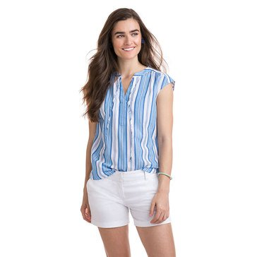 Vineyard Vines Women's  Woven Striped Popover Extended Sleeve Shirt