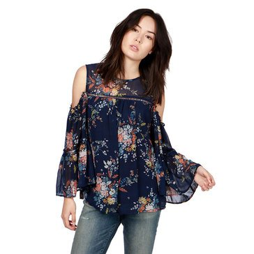 Lucky Brand Women's Printed Cold Shoulder Top