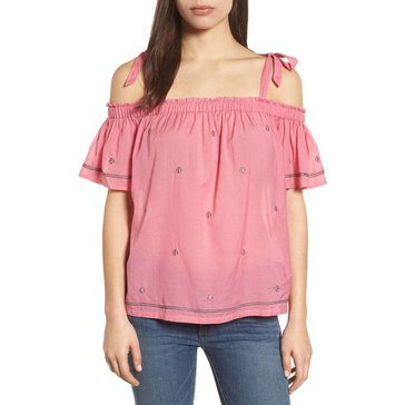 Lucky Brand Women's Off The Shoulder Top With Ties