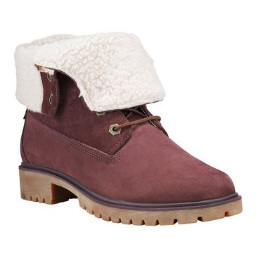Timberland Jayne Waterproof Teddy Fleece Fold Down Burgundy