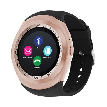 iTouch Unisex Curve Rose Gold Black Strap Watch