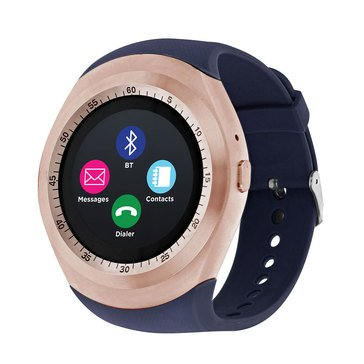 iTouch Unisex Curve Rose Gold Navy Strap Watch